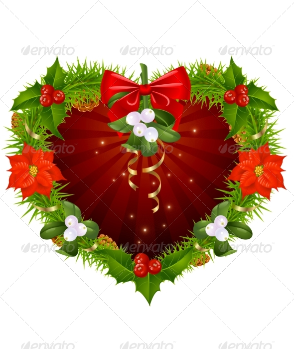 Christmas wreath in the shape of heart - Christmas Seasons/Holidays