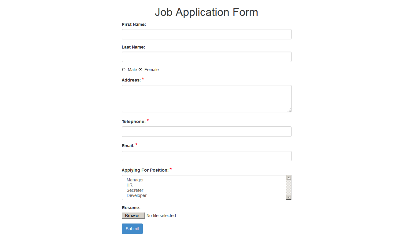 simple application form - Mersn.proforum.co