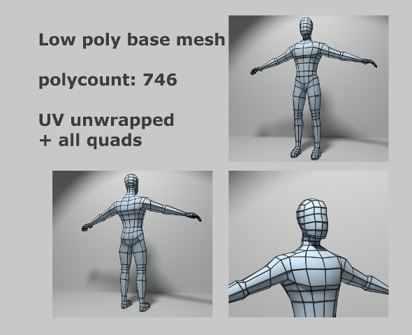 Optimized low poly Male Base mesh - 3DOcean Item for Sale