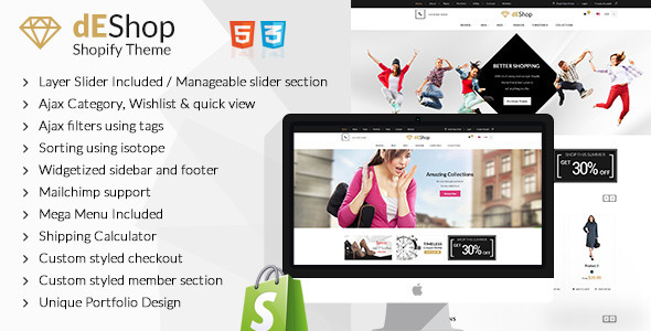 dEShop - Responsive Shopify Store Template - Shopify eCommerce