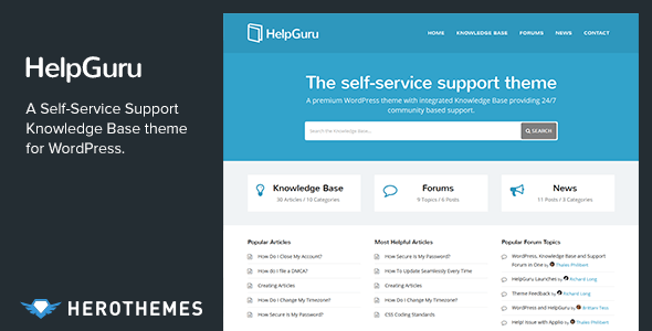 HelpGuru – A Self-Service Knowledge Base WordPress Theme