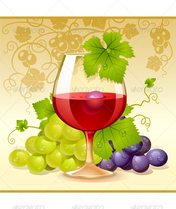 Vector wine glass and grape - Food Objects