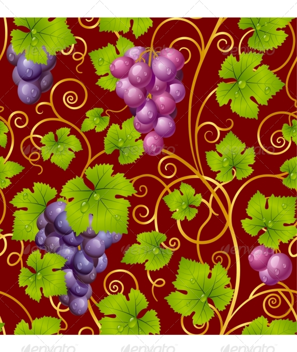 Seamless grape pattern - Backgrounds Decorative