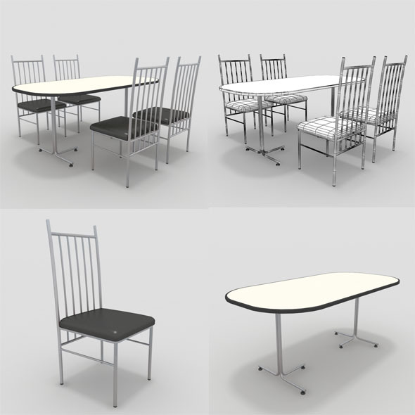 Table with Chairs-1 - 3DOcean Item for Sale