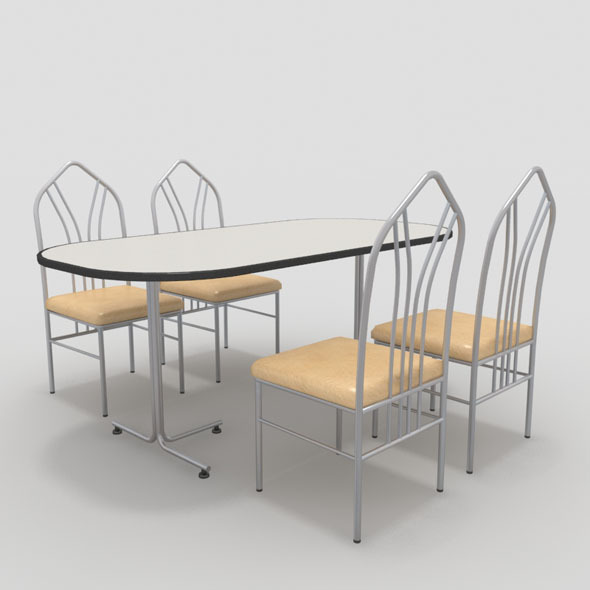 Table with Chairs-3 - 3DOcean Item for Sale
