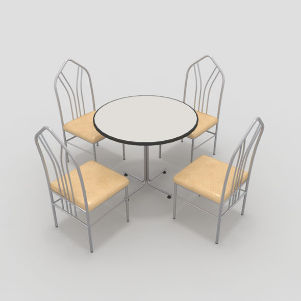 Table with Chairs-4 - 3DOcean Item for Sale