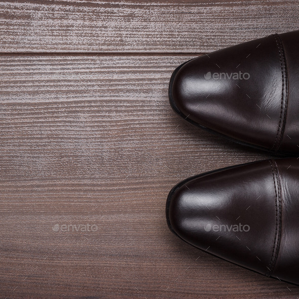 Shoes On The Wooden Floor Background - Stock Photo - Images
