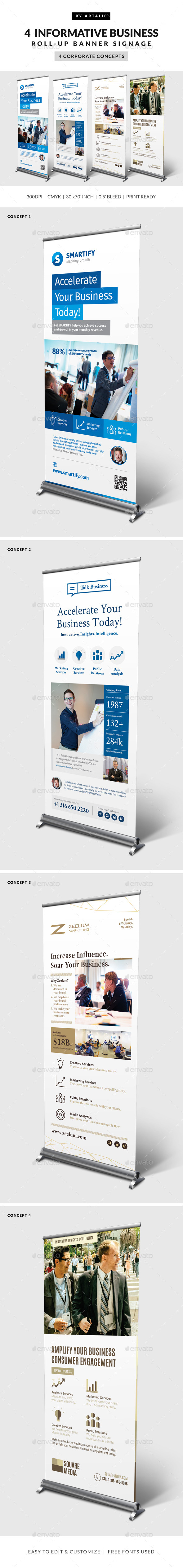 4 Corporate Business Roll-up Banners - Signage Print Templates