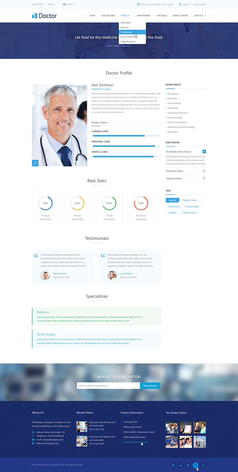 Doctor - Health Clinical PSD Template by mustachethemes | ThemeForest