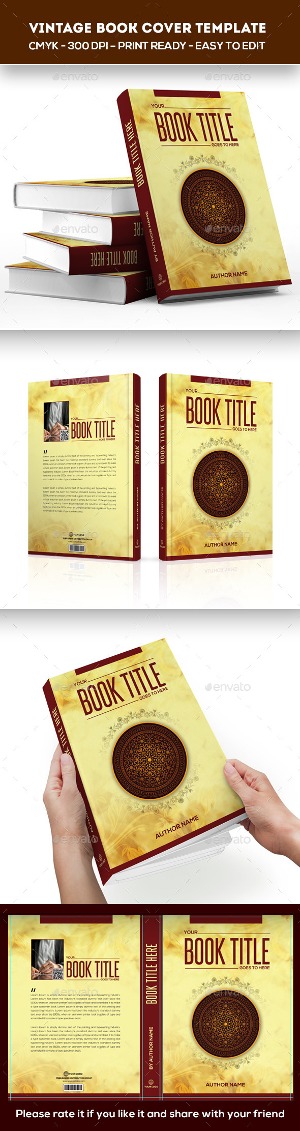 Vintage Book Cover Template - Print Templates