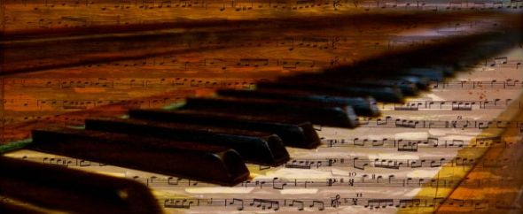 Piano keys musical notes