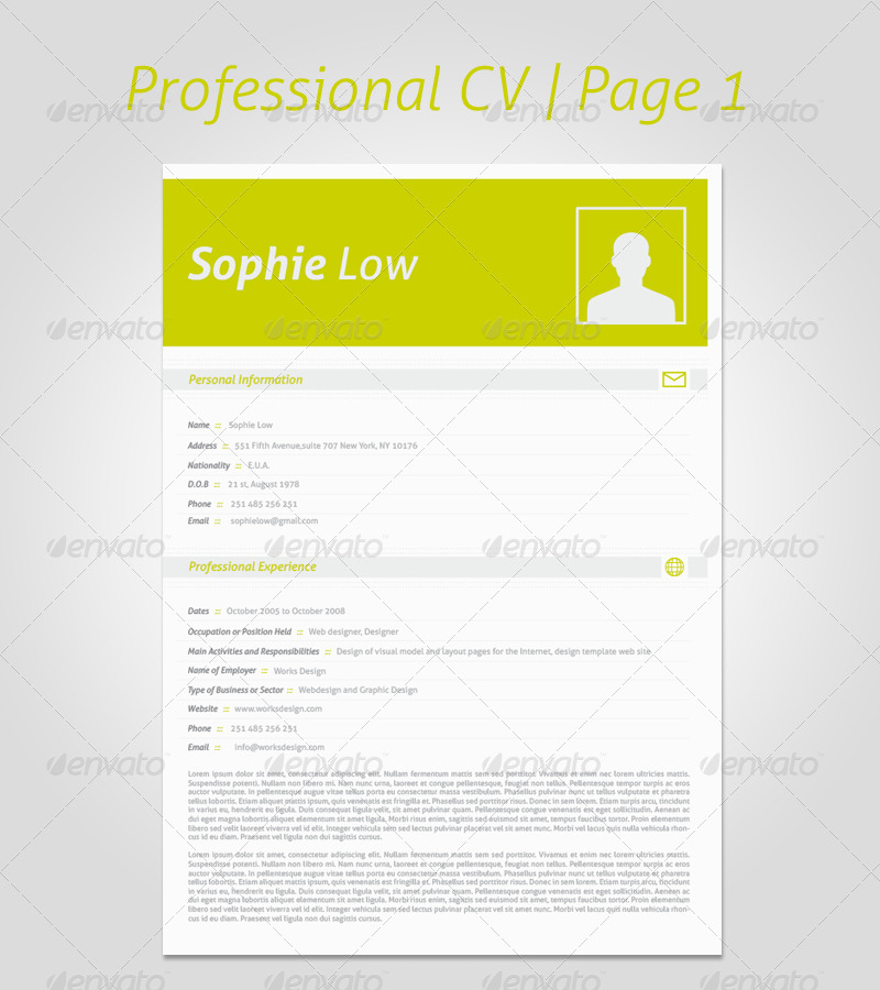 5 Colors CV Resume Portfolio