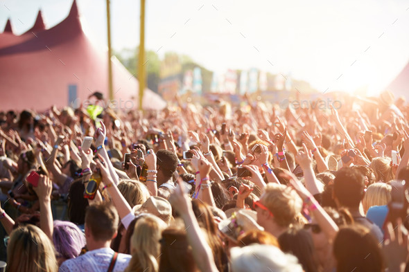 Audience At Outdoor Music Festival - Stock Photo - Images