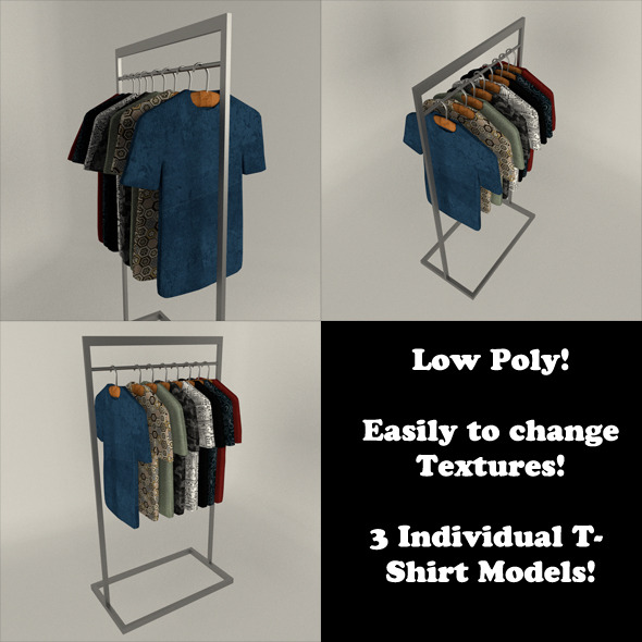 T-Shirt Display Set (Low Poly) - 3DOcean Item for Sale