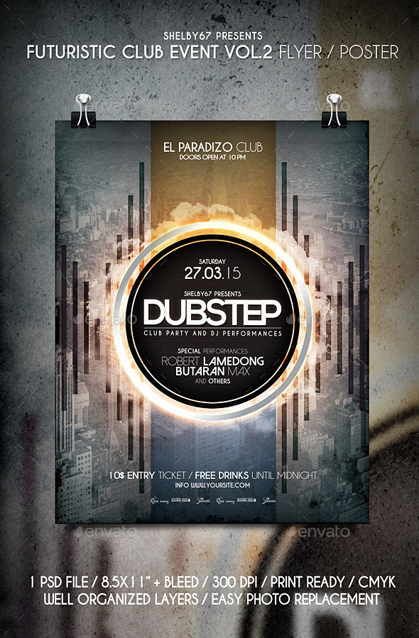 Futuristic Club Event Flyer / Poster Vol.2 - Clubs & Parties Events