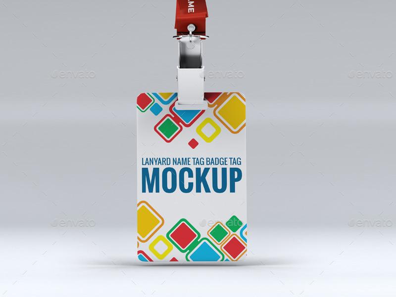 Tag Mockup: Lanyard Name Tag Badge Mockup By L5Design