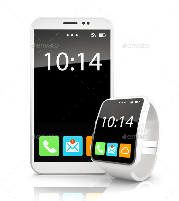 White smartphone and smart watch on white background - Stock Photo - Images
