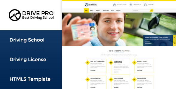 Extraordinary Drive Pro : Driving School HTML Template