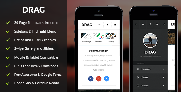 Drag Mobile | Mobile Template - Mobile Site Templates