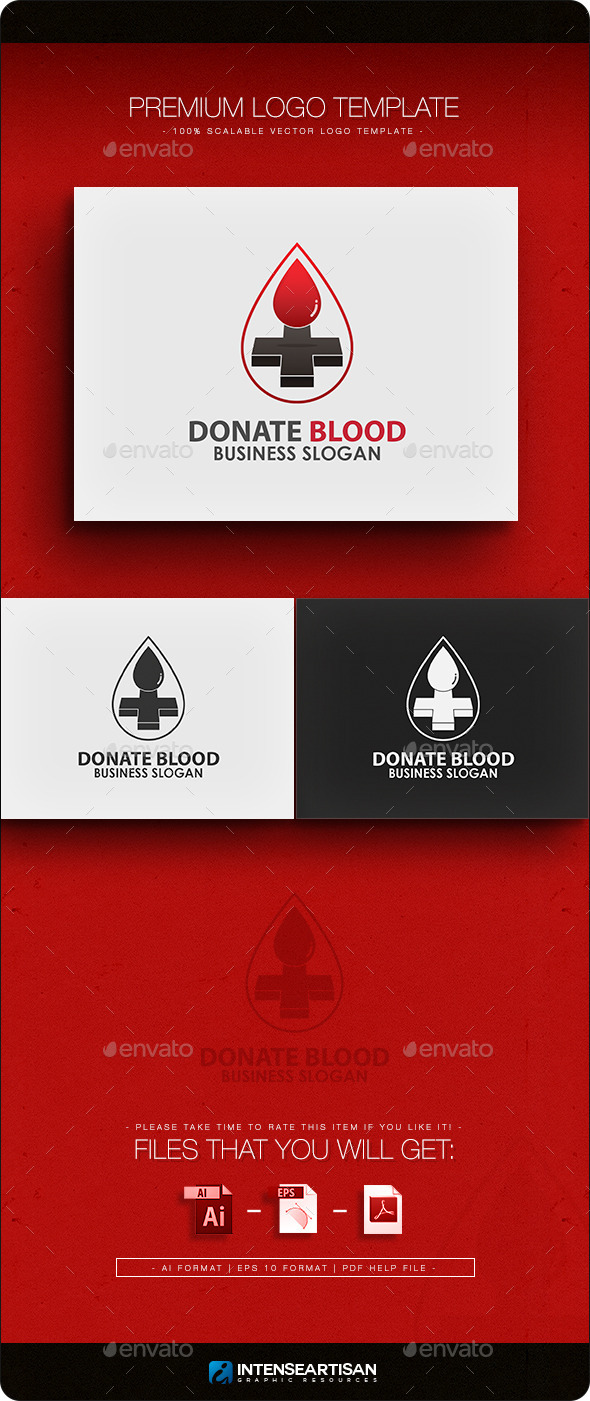 Donate Blood Logo Template - Objects Logo Templates