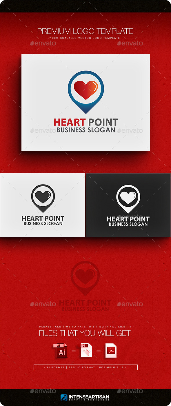 Heart Point Logo Template - Objects Logo Templates