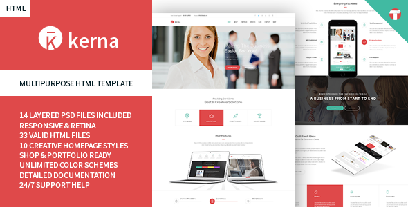 Kerna – Responsive Multi-Purpose HTML Template