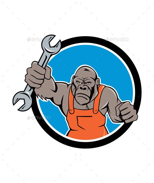Angry Gorilla Mechanic Spanner Circle Cartoon - Animals Characters