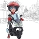 Girl on a Scooter in Paris - GraphicRiver Item for Sale