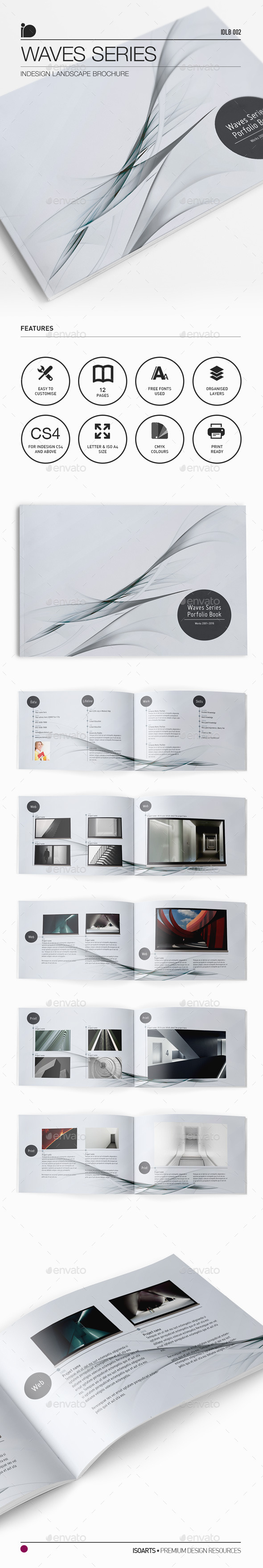 Landscape Brochure • Waves Series - Portfolio Brochures