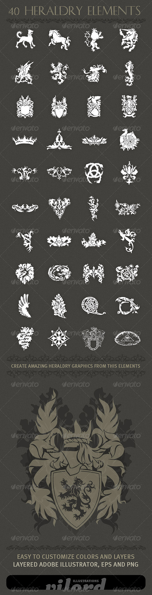 40 Heraldry Crest Elements - Decorative Symbols Decorative