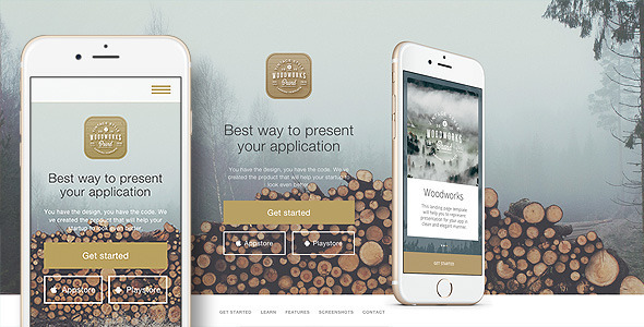 Woodworks – Responsive Bootstrap App Landing page