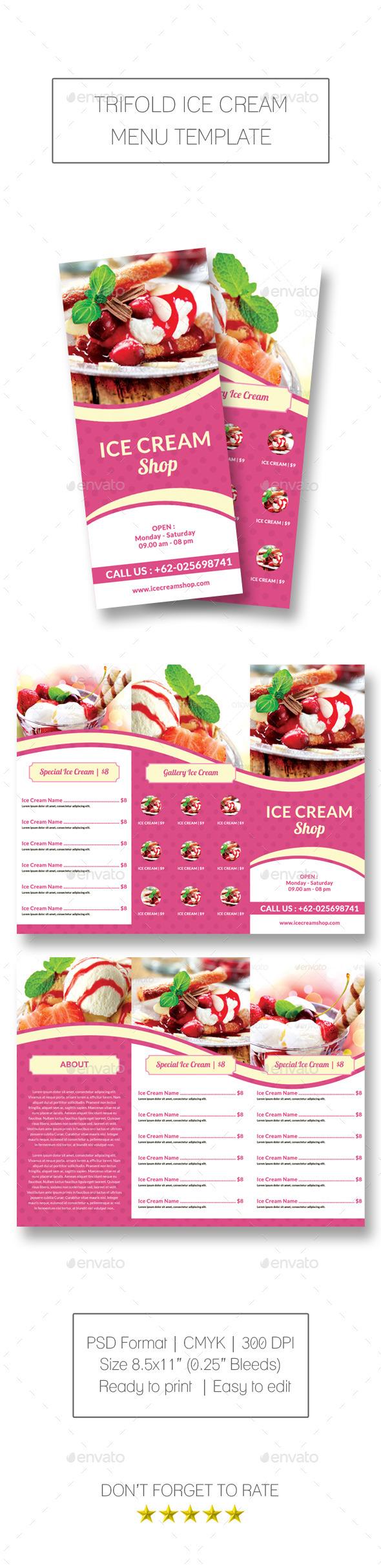 Trifold Ice Cream Menu Template by meisuseno | GraphicRiver