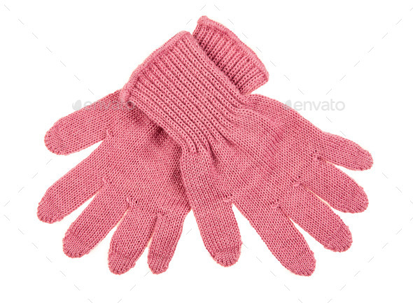knitted woolen baby gloves - Stock Photo - Images