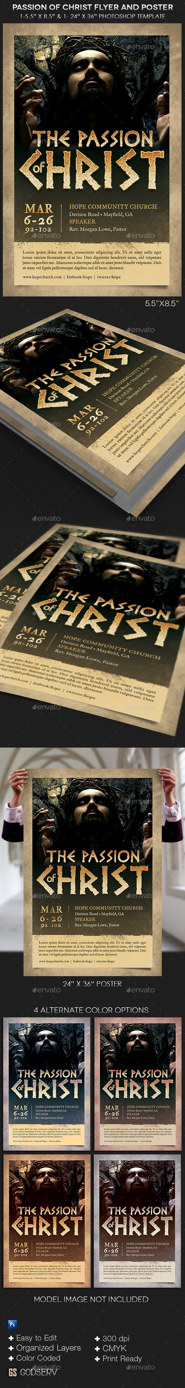 Christ Passion Flyer Poster Template - Church Flyers