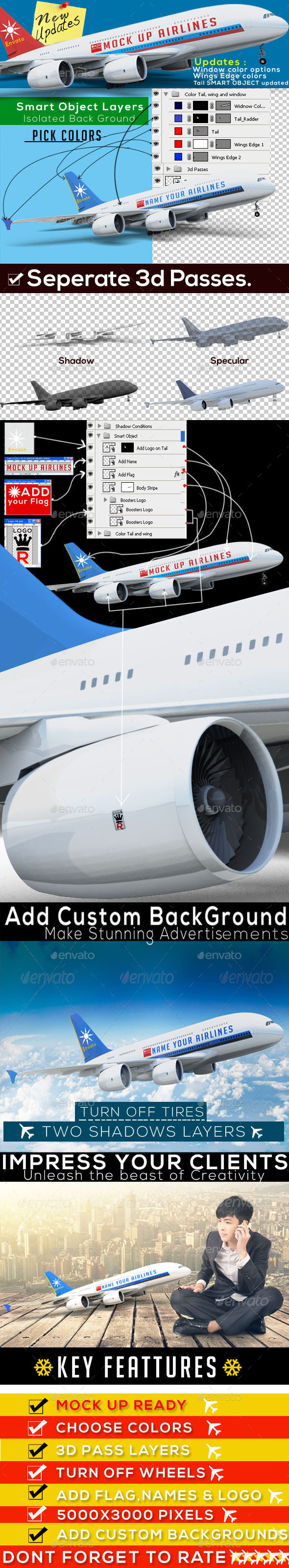 Airplane Advertising Mockup - A380 - Miscellaneous 3D Renders