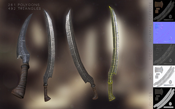Game Ready Low-Poly Elvish Sword - 3DOcean Item for Sale