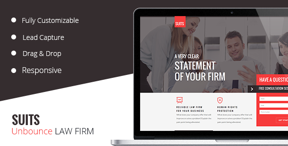 SUITS -  Unbounce  Law Template - Unbounce Landing Pages Marketing