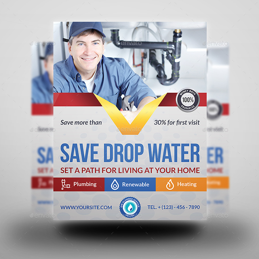 Plumber Service Flyer Template by OWPictures | GraphicRiver