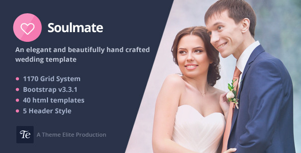 Soulmate – Responsive Bootstrap 3 Wedding Template
