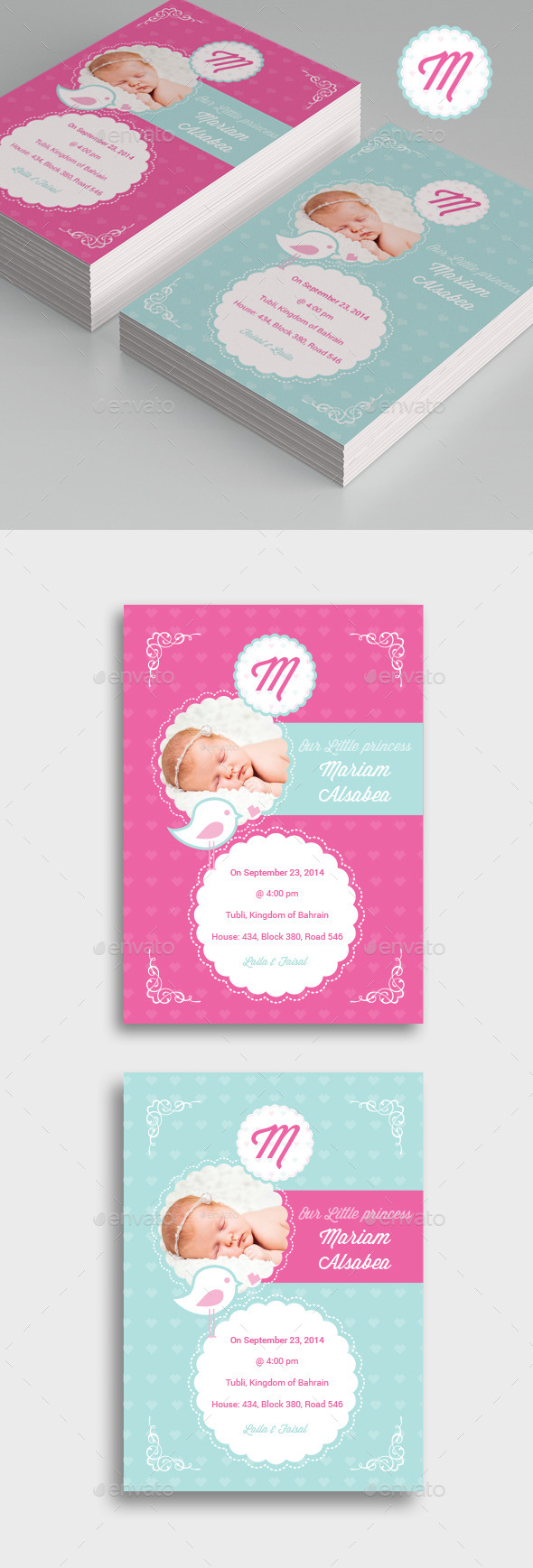 Bird Baby Girl Flyer - Family Cards & Invites