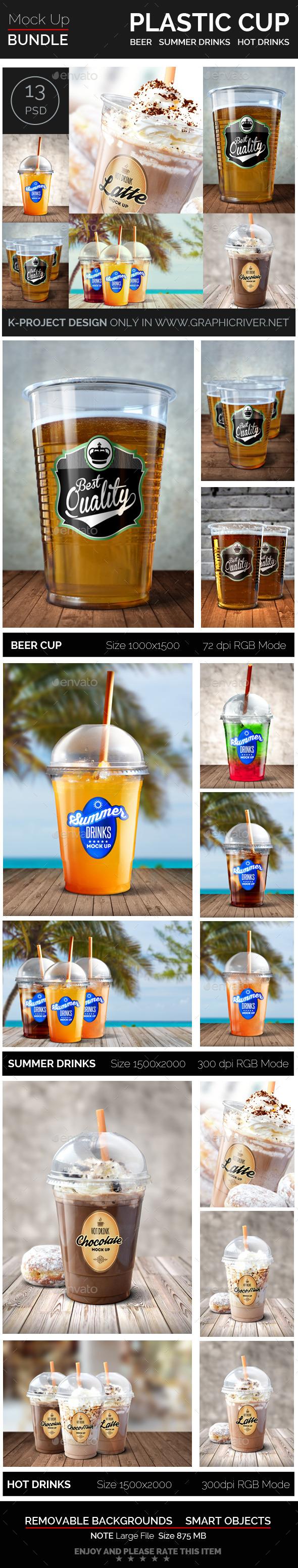 Plastic Cup Mock Up Bundle - Food and Drink Packaging