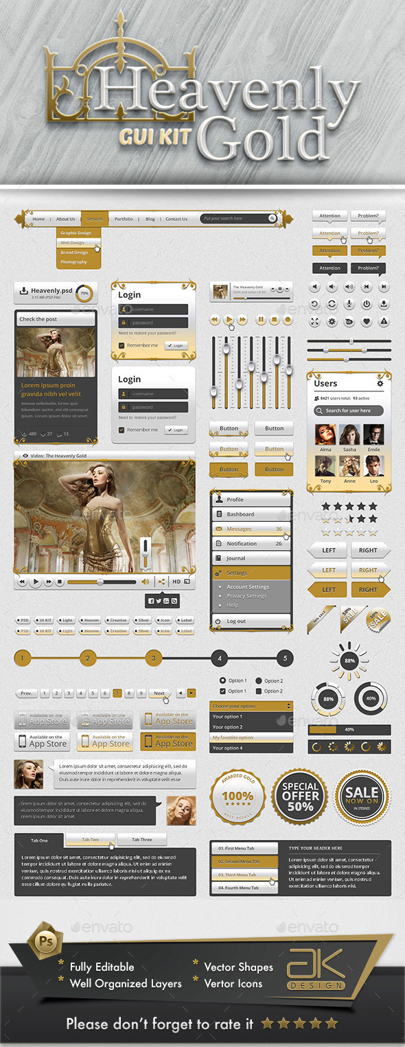 Gold UI Kit - User Interfaces Web Elements
