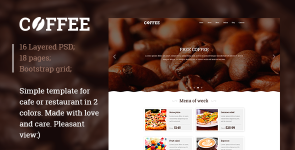 Restaurant / Cafe PSD template - Food Retail