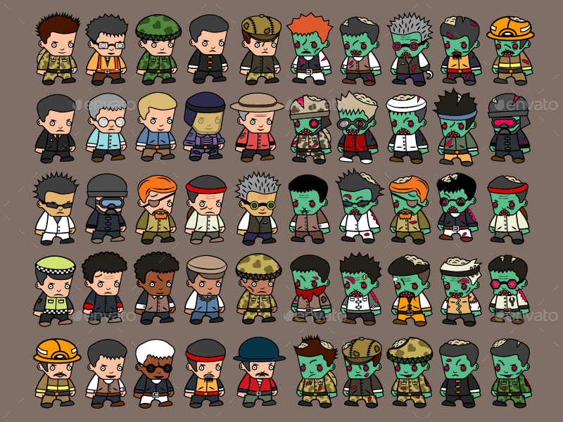 100 2d Characters Zombies And Survivors By Cruizpro