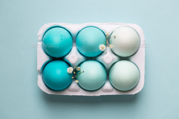 Carton of ombre dyed Easter eggs - Stock Photo - Images