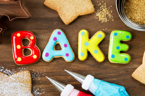 Cookies spellling bake - Stock Photo - Images