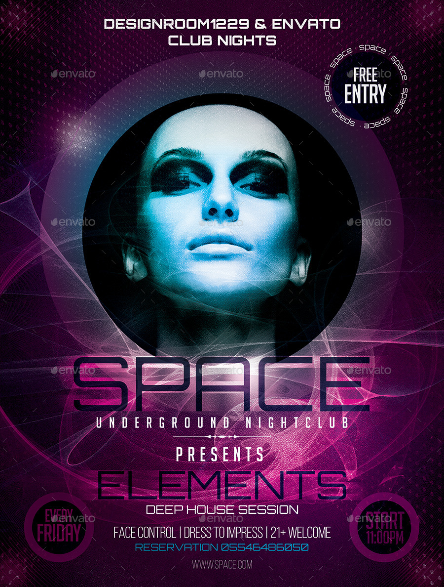 Space Club Flyer Template by DESIGNROOM1229 | GraphicRiver