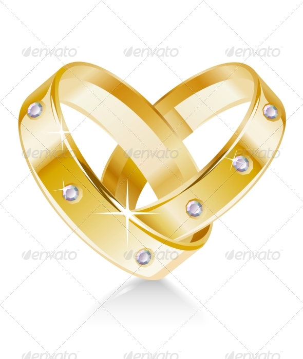Two wedding rings shaped heart - Weddings Seasons/Holidays