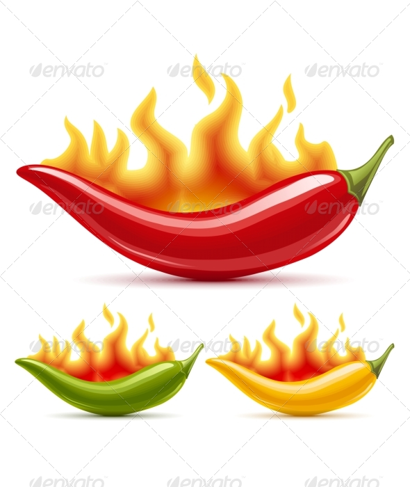 Green, yellow and red hot chili peppers - Food Objects