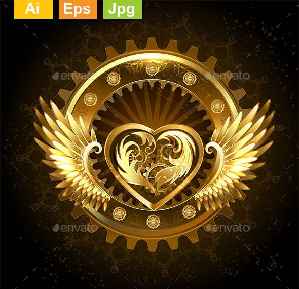 Mechanical Heart With Wings By Blackmoon9 Graphicriver